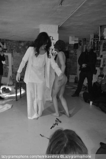 Happening during SchizoPoP Manifesto's artshow, Paris, 2012